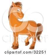 Clipart Illustration Of A Bashful Brown Pony Turning Its Head Over Its Back And Glancing At The Viewer by Alex Bannykh