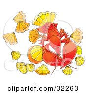 Clipart Illustration Of A Red Lobster Surrounded By Shells