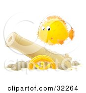 Clipart Illustration Of A Curious Yellow And Orange Puffer Fish Swimming Over A Sunken Cannon by Alex Bannykh