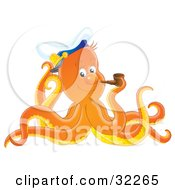 Friendly Orange Octopus Smoking A Tobacco Pipe And Tipping His Captain Hat