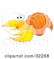 Cute Yellow Hermit Crab With An Orange Shell