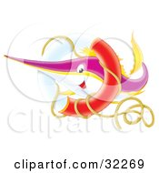 Clipart Illustration Of A Purple Yellow And White Swordfish Or Marlin Swimming Through A Flotation Rin