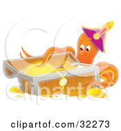 Clipart Illustration Of A Happy Octopus Wearing A Hat Touching Gold And Jewelry In A Sunken Treasure Chest by Alex Bannykh