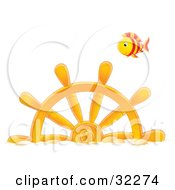 Clipart Illustration Of A Red And Yellow Striped Fish Swimming Above A Sunken Ships Helm by Alex Bannykh