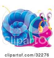 Clipart Illustration Of A Cute Purple Snail With A Blue Shell Listening To Music On Headphones With An Antenna On His Shell by Alex Bannykh