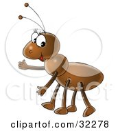 Clipart Illustration Of A Friendly Brown Ant Gesturing To The Left by Alex Bannykh
