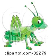 Clipart Illustration Of A Cute And Friendly Green Grasshopper Glancing At The Viewer