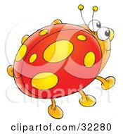 Clipart Illustration Of A Yellow Spotted Ladybug With Orange Legs by Alex Bannykh