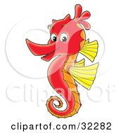 Clipart Illustration Of A Cute Red Seahorse With Yellow Fins Facing Left And Smiling At The Viewer by Alex Bannykh