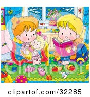 Clipart Illustration Of A Sweet Little Boy Reading A Book To His Sister In Her Bedroom On A Winter Night
