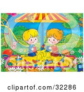 Clipart Illustration Of A Cat Near A Boy And Girl Playing In A Sandbox In A Park