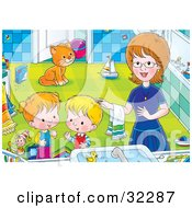 Clipart Illustration Of A Mom Helping Her Children Get Cleaned Up In A Bathroom A Cat Watching In The Background by Alex Bannykh