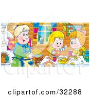 Clipart Illustration Of A Happy Boy And Girl At A Table Eating Fresh Food Made By Grandma
