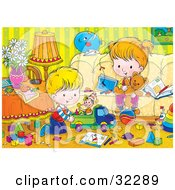 Clipart Illustration Of A Brother And Sister Playing With Toys In A Messy Living Room by Alex Bannykh