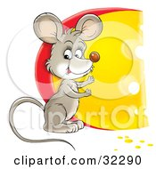 Clipart Illustration Of A Cute Mouse Standing By A Big Circular Wedge Of Cheese by Alex Bannykh
