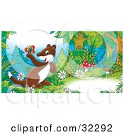 Clipart Illustration Of A Cute Brown Weasel With A White Belly Exploring In Mushrooms And Flowers In A Forest Holding A Butterfly by Alex Bannykh