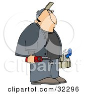 Gas Man Carrying Tools And A Leak Detector