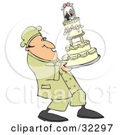 Nervous Chef Leaning Back And Carrying A Tall Wedding Cake