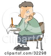Clipart Illustration Of A Nervous School Boy Seated At His Desk Trying To Think Of The Right Answers For His Test