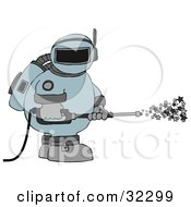 Clipart Illustration Of An Astronaut In A Space Suit Operating A Power Washer And Spraying Out Stars