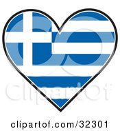 Clipart Illustration Of A Blue And White Greek Flag In The Shape Of A Heart by Maria Bell