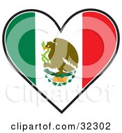 Eagle On A Cactus With A Serpent On A Green White And Red Mexican Flag In The Shape Of A Heart
