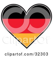 Black Red And Orange German Flag In The Shape Of A Heart