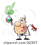 Clipart Illustration Of A Stubbly Male Caucasian Mad Scientist Holding Up A Green Potion In A Flask by Hit Toon