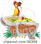 Clipart Illustration Of A Red White And Yellow Parrot Perched On An Open Treasure Chest Full Of Jewels And Gold by Alex Bannykh