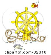 Clipart Illustration Of A Fish Swimming Over A Sunken Ships Helm With Rope by Alex Bannykh