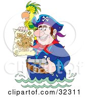 Clipart Illustration Of A Tough Pirate Holding A Pistil And A Map Wading In Water A Parrot On His Shoulder by Alex Bannykh