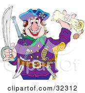Clipart Illustration Of A Greedy Pirate Holding A Sword And A Treasure Map