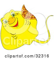 Clipart Illustration Of A Cute Green Eyed Yellow Stingray Waving With His Fin