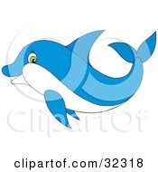 Clipart Illustration Of A Green Eyed Blue Dolphin Swimming In Profile by Alex Bannykh