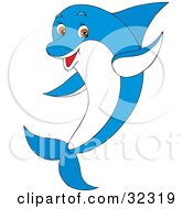 Clipart Illustration Of A Happy Brown Eyed Blue And White Dolphin Waving by Alex Bannykh