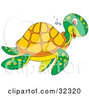Friendly Green Sea Turtle With An Orange Shell Smiling While Swimming To The Right