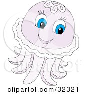 Cute Pale Purple Jellyfish With Blue Eyes