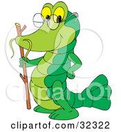 Clipart Illustration Of An Old Green Crayfish With A Stick And Glasses