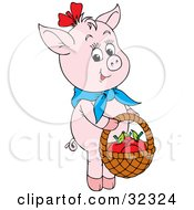 Clipart Illustration Of A Cute Pink Pig Wearing A Blue Scarf Carrying Apples In A Basket by Alex Bannykh