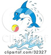Clipart Illustration Of A Playful Blue Dolphin Playing With A Ball And Leaping Out Of Water by Alex Bannykh