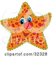 Clipart Illustration Of A Friendly Blue Eyed Orange Starfish With Red Spots