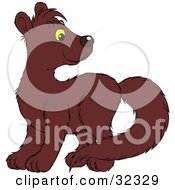 Clipart Illustration Of A Cute Brown Mink Looking Back Over Its Shoulder