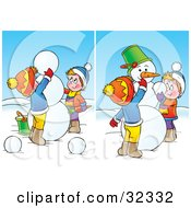 Clipart Illustration Of Two Scenes Of Boys Putting The Final Touches On A Snowman