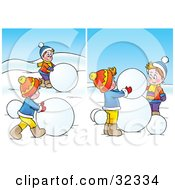 Clipart Illustration Of Two Scenes Of Boys Rolling Giant Snow Balls To Make A Snowman