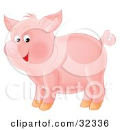 Clipart Illustration Of An Adorable Pink Pig With A Curly Tail Standing In Profile