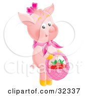 Clipart Illustration Of An Adorable Pink Pig Standing On Its Hind Legs Carrying A Basket Of Apples