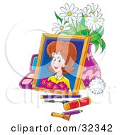 Clipart Illustration Of A Portrait Of A Woman Holding Flowers Leaning Against A Vase Of Daisies Surrounded By Makeup by Alex Bannykh