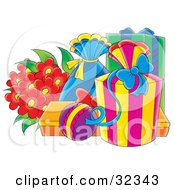 Clipart Illustration Of A Bouquet Of Red Flowers Beside Wrapped Birthday Or Anniversary Presents by Alex Bannykh