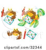 Clipart Illustration Of A Set Of Three Brown Crabs With Word Puzzles And Pencils One Shown On A Sea Turtles Back by Alex Bannykh