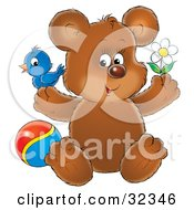 Clipart Illustration Of A Cute Brown Bear With A Blue Bird On One Paw Holding A Flower And Sitting By A Ball by Alex Bannykh